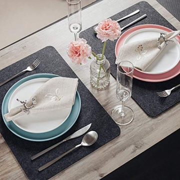 Tendak Filz Tischsets Platzset, mit 6 Tischset Abwischbar 44x32cm, 6 Untersetzer und 6 Besteckbeutel,Hitzebeständig und waschbar, Tischset Set aus Anthrazit,Geeignet für Esstisch (Dunkelgrau, 18Stück) - 6
