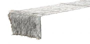 Tischband Fell Polyester grau 120x20 cm, Tischdeko, Tischfell, Tischdecke, Winter - 1