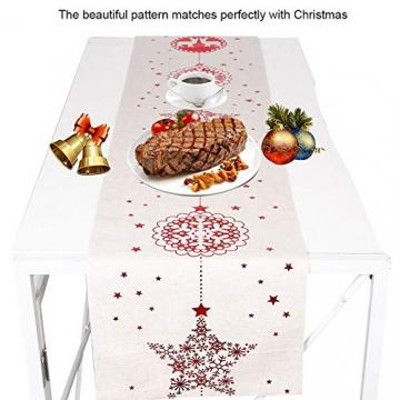 Tischläufer, Bestickte Weihnachtstischwäsche Tischdecke Weihnachtstischläufer Lange Tischdecke für Familienabendessen, Weihnachtsfeiern, Partys drinnen oder draußen(Fünfzackige Stern-Schneeflocke) - 2