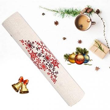 Tischläufer, Bestickte Weihnachtstischwäsche Tischdecke Weihnachtstischläufer Lange Tischdecke für Familienabendessen, Weihnachtsfeiern, Partys drinnen oder draußen(Fünfzackige Stern-Schneeflocke) - 3