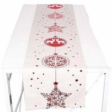 Tischläufer, Bestickte Weihnachtstischwäsche Tischdecke Weihnachtstischläufer Lange Tischdecke für Familienabendessen, Weihnachtsfeiern, Partys drinnen oder draußen(Fünfzackige Stern-Schneeflocke) - 1