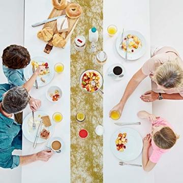 Tischläufer, Goldener Hochwertiger Tischläufer, Deko tischläufer Gold, 1 Rolle 25 m x 23 cm zur Dekoration Hochzeit Tischdeko Taufe Festival Geburtstag Weihnachten - 3