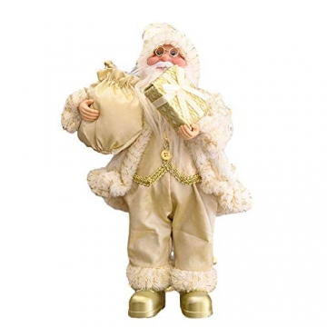 Traditionelle Weihnachtsmann-Figur mit Weihnachtsmann-Motiv, stehend, Weihnachtsdekoration, Weihnachtsmannpuppe für Zuhause, Rucksack, Büro (30 cm, rot) - 2