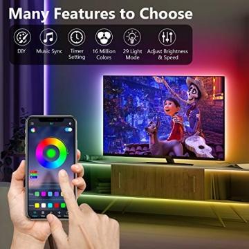 TVLIVE LED Strip, RGB LED Streifen 15m, Farbwechsel LED Lichterkette mit Fernbedienung, App-steuerung, 16 Mio. Farben, Sync mit Musik, LED Band für Schlafzimmer Küche Zuhause Schrankdek - 2