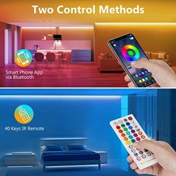 TVLIVE LED Strip, RGB LED Streifen 15m, Farbwechsel LED Lichterkette mit Fernbedienung, App-steuerung, 16 Mio. Farben, Sync mit Musik, LED Band für Schlafzimmer Küche Zuhause Schrankdek - 3