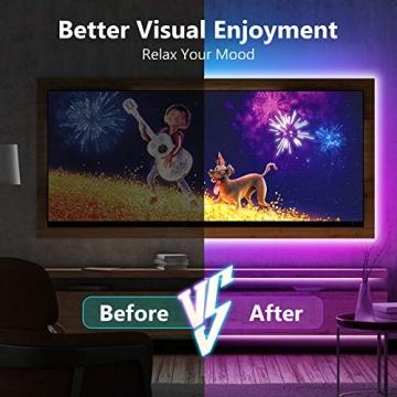 TVLIVE LED Strip, RGB LED Streifen 15m, Farbwechsel LED Lichterkette mit Fernbedienung, App-steuerung, 16 Mio. Farben, Sync mit Musik, LED Band für Schlafzimmer Küche Zuhause Schrankdek - 4
