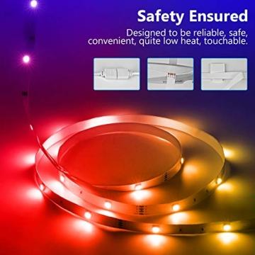 TVLIVE LED Strip, RGB LED Streifen 15m, Farbwechsel LED Lichterkette mit Fernbedienung, App-steuerung, 16 Mio. Farben, Sync mit Musik, LED Band für Schlafzimmer Küche Zuhause Schrankdek - 7
