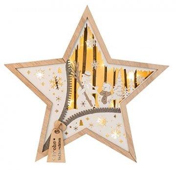 Unbekannt, III Stern aus Holz mit LED Beleuchtung, Schneemann, ca. 32 x 32 x 5 cm, mit 6 Stunden Timer, batteriebetrieben, für Weihnachten, im Winter, als Stimmungslicht, Braun - 2