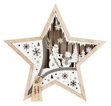 Unbekannt, III Stern aus Holz mit LED Beleuchtung, Schneemann, ca. 32 x 32 x 5 cm, mit 6 Stunden Timer, batteriebetrieben, für Weihnachten, im Winter, als Stimmungslicht, Braun - 1