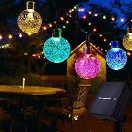 Usboo® Solar Lichterkette, 60 bunte LEDs 10 Meter für Innen & Außen mit Kristallkugeln, wasserdichten Kupferdrähten für Zimmersdekorationen, Feste, Garten, Balkons, Partys, Hochzeiten, Kinder usw. - 1