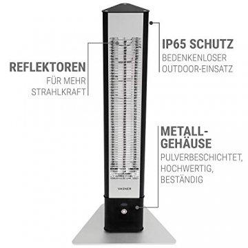 VASNER HeatTower Stand-Heizstrahler 2500 W, 4 Stufen Dimmer, Infrarotstrahler Standgerät, Terrassenstrahler mit Standfuß, Fernbedienung, elektrisch, IP65 Terrasse, schwarz - 3