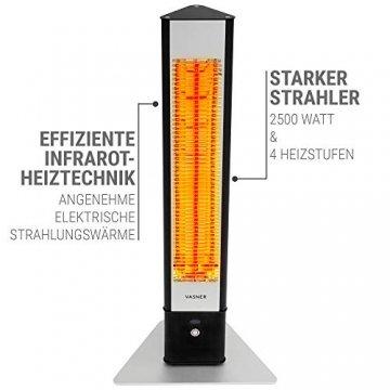 VASNER HeatTower Stand-Heizstrahler 2500 W, 4 Stufen Dimmer, Infrarotstrahler Standgerät, Terrassenstrahler mit Standfuß, Fernbedienung, elektrisch, IP65 Terrasse, schwarz - 4