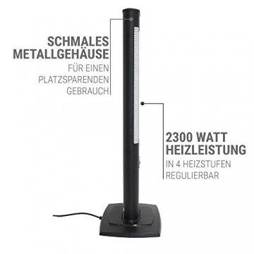 VASNER StandLine 23R Infrarot Heizstrahler Standgerät 2300 Watt 4 Stufen Dimmer Fernbedienung Stand-Heizstrahler Terrassenstrahler elektrisch Infrarotstrahler Standfuß (Schwarz) - 3