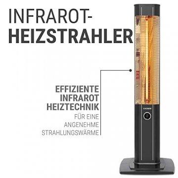 VASNER StandLine 23R Infrarot Heizstrahler Standgerät 2300 Watt 4 Stufen Dimmer Fernbedienung Stand-Heizstrahler Terrassenstrahler elektrisch Infrarotstrahler Standfuß (Schwarz) - 4