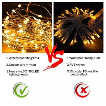 Vegena LED USB Lichtervorhang 3m x 3m, 300 LEDs Lichterkettenvorhang mit 8 Modi Lichterkette Gardine für Partydekoration Schlafzimmer Innenbeleuchtung Weihnachten Deko Warmweiß [Energieklasse A+++] - 5