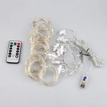 Vegena LED USB Lichtervorhang 3m x 3m, 300 LEDs Lichterkettenvorhang mit 8 Modi Lichterkette Gardine für Partydekoration Schlafzimmer Innenbeleuchtung Weihnachten Deko Warmweiß [Energieklasse A+++] - 6