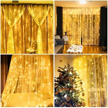 Vegena LED USB Lichtervorhang 3m x 3m, 300 LEDs Lichterkettenvorhang mit 8 Modi Lichterkette Gardine für Partydekoration Schlafzimmer Innenbeleuchtung Weihnachten Deko Warmweiß [Energieklasse A+++] - 7