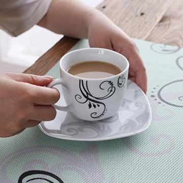 VEWEET Tafelservice 'Zoey' aus Porzellan 60 teilig   Kombiservice beinhaLtet Kaffeetassen 175 ml, Untertasse, Dessertteller, Speiseteller und Suppenteller  Komplettservice für 12 Personen … - 5