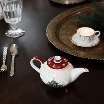 Villeroy und Boch Toy's Delight Decoration Teelichthalter Kaffeekanne, Weihnachtsdekoration aus Premium Porzellan, weiß, rot - 2