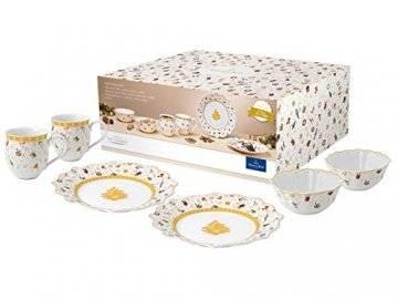 Villeroy und Boch - Toys Delight Frühstücks-Set für 2, 6tlg., weihnachtliches Geschirr-Set für 2 Personen aus der Jubiläumsedition, Porzellan, weiß - 1