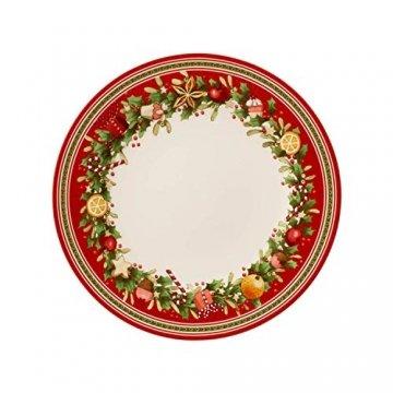 Villeroy und Boch Winter Bakery Delight Speiseteller, 27 cm, Premium Porzellan, Weiß/Rot - 1