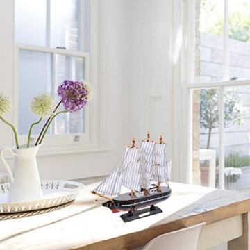 VOSAREA 24cm Holz Segelboot Modell Segelschiff Maritime Deko Holzboot Piratenschiff Holzschiff Mediterraner Stil Boot Schiff für Weihnachten Tischdeko Wohnzimmer Büro Schreibtisch Deko - 2