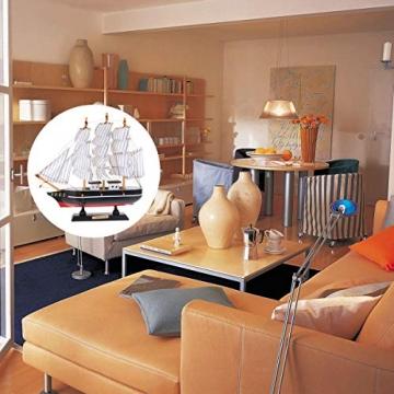 VOSAREA 24cm Holz Segelboot Modell Segelschiff Maritime Deko Holzboot Piratenschiff Holzschiff Mediterraner Stil Boot Schiff für Weihnachten Tischdeko Wohnzimmer Büro Schreibtisch Deko - 3