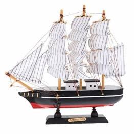 VOSAREA 24cm Holz Segelboot Modell Segelschiff Maritime Deko Holzboot Piratenschiff Holzschiff Mediterraner Stil Boot Schiff für Weihnachten Tischdeko Wohnzimmer Büro Schreibtisch Deko - 1