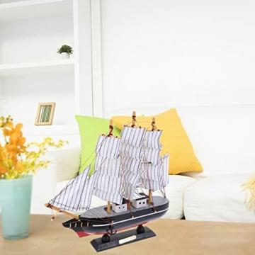 VOSAREA 24cm Holz Segelboot Modell Segelschiff Maritime Deko Holzboot Piratenschiff Holzschiff Mediterraner Stil Boot Schiff für Weihnachten Tischdeko Wohnzimmer Büro Schreibtisch Deko - 4