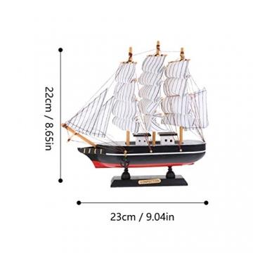 VOSAREA 24cm Holz Segelboot Modell Segelschiff Maritime Deko Holzboot Piratenschiff Holzschiff Mediterraner Stil Boot Schiff für Weihnachten Tischdeko Wohnzimmer Büro Schreibtisch Deko - 7