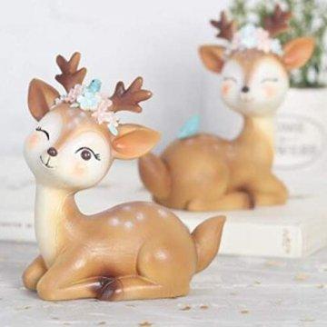 VOSAREA Rentier Figur Elch Hirsch Figur Weihnachten Tierfigur Dekofigur Weihnachtsfigur Xmas Party Deko Tischdeko Winterdeko Weihnachtsdeko (Anmutmuster) - 2