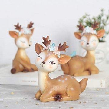VOSAREA Rentier Figur Elch Hirsch Figur Weihnachten Tierfigur Dekofigur Weihnachtsfigur Xmas Party Deko Tischdeko Winterdeko Weihnachtsdeko (Anmutmuster) - 4