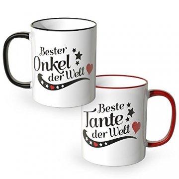 WANDKINGS® Tasse, Spruch Beste Tante der Welt und Bester Onkel der Welt, 2 Stück im Set, Verwandtschaft - 1