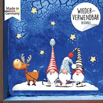 Wandtattoo Loft Fensterbild Weihnachten Schlitten Elch Trolle Sterne Fensteraufkleber Winter wiederverwendbar - 2