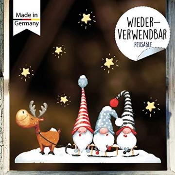 Wandtattoo Loft Fensterbild Weihnachten Schlitten Elch Trolle Sterne Fensteraufkleber Winter wiederverwendbar - 3