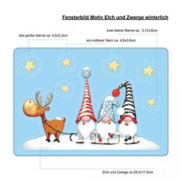 Wandtattoo Loft Fensterbild Weihnachten Schlitten Elch Trolle Sterne Fensteraufkleber Winter wiederverwendbar - 4