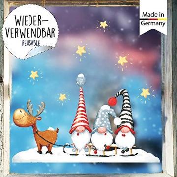 Wandtattoo Loft Fensterbild Weihnachten Schlitten Elch Trolle Sterne Fensteraufkleber Winter wiederverwendbar - 5