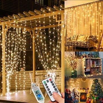 WEARXI Lichtervorhang Deko - 3M 300 LEDs Lichterkette Lichtvorhang, 8 Modi LED Vorhang Lichterketten für Zimmer Deko Schlafzimmer Deko, Weihnachtsdeko, Outdoor Deko Balkon (Warmweiß) - 1