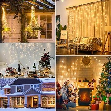 WEARXI Lichtervorhang Deko - 3M 300 LEDs Lichterkette Lichtvorhang, 8 Modi LED Vorhang Lichterketten für Zimmer Deko Schlafzimmer Deko, Weihnachtsdeko, Outdoor Deko Balkon (Warmweiß) - 6