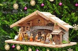Weihnachtskrippe ÖLBAUM 70 cm, mit Brunnen + Dekomaterial, Massivholz mit BRUNNEN + LED historisch braun - mit 12 x PREMIUM-Krippenfiguren + goldener - 1