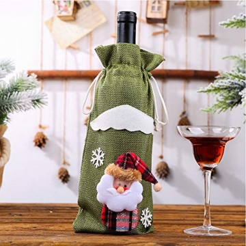 Weihnachtspullover-Weintüten, wiederverwendbar, Weinflaschen-Geschenktüte, Dekoration, Weinabdeckung, Weihnachtstischdekoration für Weihnachtsparty - 3