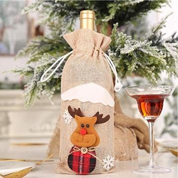 Weihnachtspullover-Weintüten, wiederverwendbar, Weinflaschen-Geschenktüte, Dekoration, Weinabdeckung, Weihnachtstischdekoration für Weihnachtsparty - 5
