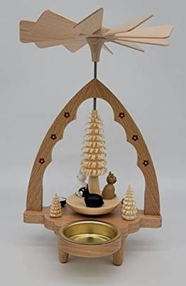 Weihnachtspyramide für Teelichte Erzgebirge Richard Glässer Seiffen Katzen, 16381 - 1