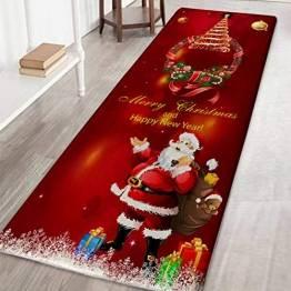 Weihnachtsteppich 3D Rutschfest Weihnachtsdruck Teppich Wohnzimmer Boden Küche Badezimmer Teppich Weihnachtsmann & Reh Weihnachtsbaum Schneemann - 1