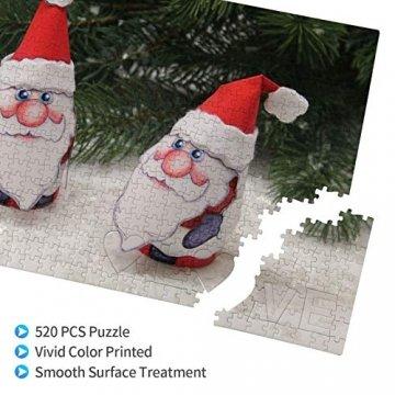 Weißer Weihnachtsbaum Adventsdeko Schneemann Heiliger Weihnachtsmann 520 Teile Bildpuzzles Spaß Kreative Geschenke für Kinder Erwachsene zum Geburtstag Weihnachten - 3