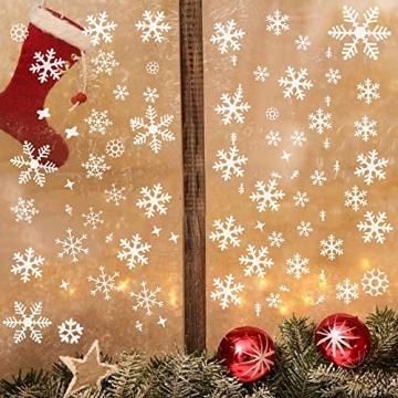 Wimaha Fensterbilder Weihnachten PVC Fensteraufkleber Schneeflocken Fensterdeko DIY Fenstersticker für Weihnachtsdeko und Winter Deko,30x40cm - 2