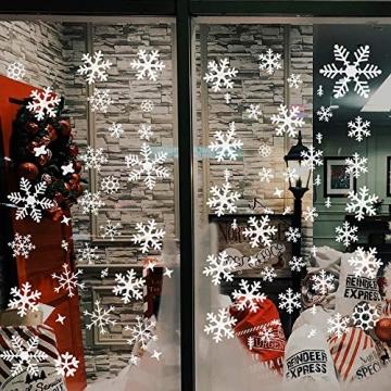 Wimaha Fensterbilder Weihnachten PVC Fensteraufkleber Schneeflocken Fensterdeko DIY Fenstersticker für Weihnachtsdeko und Winter Deko,30x40cm - 3