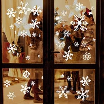 Wimaha Fensterbilder Weihnachten PVC Fensteraufkleber Schneeflocken Fensterdeko DIY Fenstersticker für Weihnachtsdeko und Winter Deko,30x40cm - 4