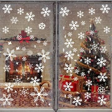 Wimaha Fensterbilder Weihnachten PVC Fensteraufkleber Schneeflocken Fensterdeko DIY Fenstersticker für Weihnachtsdeko und Winter Deko,30x40cm - 1