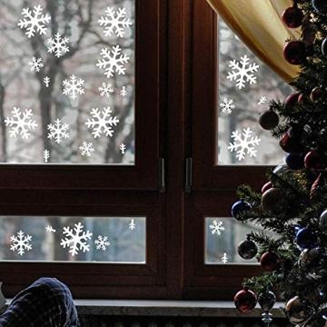 Wimaha Fensterbilder Weihnachten PVC Fensteraufkleber Schneeflocken Fensterdeko DIY Fenstersticker für Weihnachtsdeko und Winter Deko,30x40cm - 5